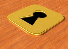 Key hole gold. In wood background Stock Photos