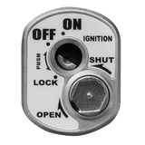Key hole on a motorcycle, ignition switch on white background. Royalty Free Stock Photo