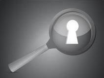 Key hole under a magnify illustration Royalty Free Stock Image