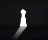 Key hole wall with light use for abstract of solution crisis and alternative decision Royalty Free Stock Photography