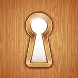 Key hole. In a wooden door Royalty Free Stock Photography