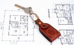 Key on home plan Royalty Free Stock Photos