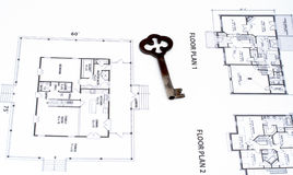 Key on home plan Royalty Free Stock Photo