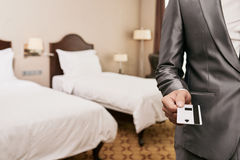 Key for hotel room Royalty Free Stock Images