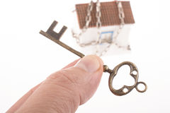 Key and house in chains Royalty Free Stock Images