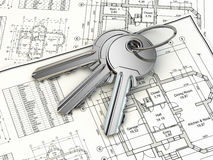 Key on house plan blueprint. 3d Stock Image