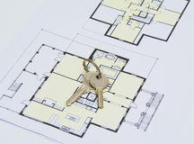 Key on house plan Royalty Free Stock Photography