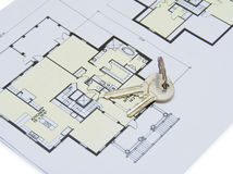 Key on house plan Stock Photography