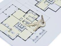 Key on house plan Stock Photography