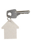 Key with a house tag. A house tag and a key on white Royalty Free Stock Photos