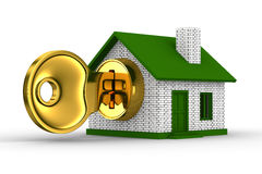 Key and house on white background Royalty Free Stock Image