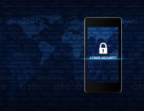 Key icon and cyber security text on modern smart phone screen ov Royalty Free Stock Photos