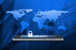 Key icon and cyber security text on modern smart phone screen over map and city tower background, Cyber security concept, Element. S of this image furnished by stock photos