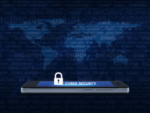 Key icon and cyber security text on modern smart phone screen over map and computer binary code blue background, Cyber security c. Oncept, Elements of this image stock photography