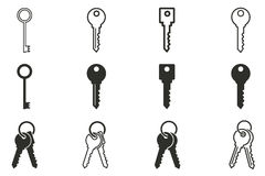 Key icon set.. Key vector icons set. Black illustration isolated on white background for graphic and web design Stock Illustration