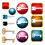 Key icons. Illustration of key icons on white background Stock Photo