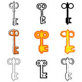Key icons set. Orange key icons vector set vector illustration