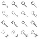 Key icons set in thin line style Royalty Free Stock Photos