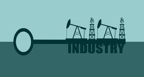 Key with industry word and mining equipment icons. Concept. Oil and gas industry relative metaphor vector illustration