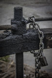 Key of the irrigation ditch. Detail key irrigation ditch with rust, grease and chain Royalty Free Stock Photos