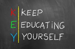 Key keep education yourself text on blackboard Royalty Free Stock Photos