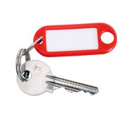 Key on key chain. With blank tag Stock Photo