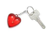 Key and key fob. Trinket for the keys as a heart, isolated on a white background Royalty Free Stock Image