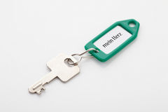 Key on key ring with text mein herz Stock Images