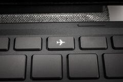 Key on the keyboard flight mode, no communication, isolated, self-isolation and no travel, quarantine measures, borders