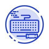 Key, Keyboard, Hardware, Repair Blue Dotted Line Line Icon vector illustration