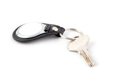 Key with keychain on white Royalty Free Stock Image