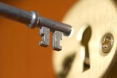Key and keyhole. Key and door lock keyhole Royalty Free Stock Photos