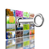 Key in keyhole on creditcard Stock Photography