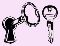 Key in keyhole Stock Photography