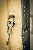 Key in keyhole Stock Photos