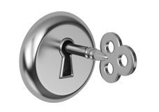 Key in keyhole Royalty Free Stock Photos