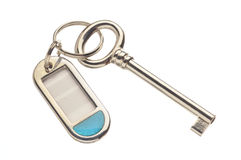 Key and keyring with label Stock Photo