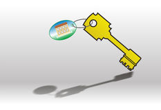 Key with label. Yellow key with label on gray background Stock Photos