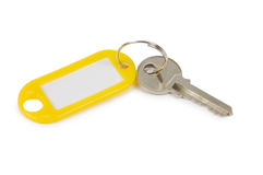 Key with label isolated on white Stock Photo