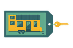 Key with label on which depicts a small house. Flat design concept for the sale of tiny home royalty free illustration