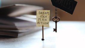 Key and a label with the words: dream, idea, plan, action. stock footage