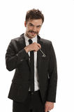 Key in lapel pocket Stock Photography