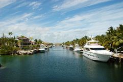 Key Largo Canals. Internal view on Key Largo canals with canal-front houses Royalty Free Stock Image