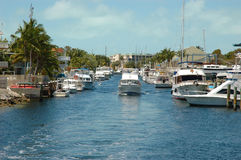 Key Largo Canals. Internal view on Key Largo canals with canal-front houses Royalty Free Stock Images