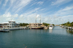 Key Largo Canals. Internal view on Key Largo canals with canal-front houses Royalty Free Stock Photos