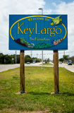 Welcome sign in Key Largo. KEY LARGO, FL - CIRCA 2012: Welcome sign over the US1 in Key Largo circa 2012. The Florida Keys are a very popular tourist destination Royalty Free Stock Images