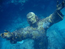 Key Largo Jesus. Scuba diving in Key Largo, Florida. Underwater photo of the Jesus statue located in john pennekamp coral reef state park Royalty Free Stock Photos