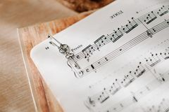 The key laying on the notes in the morning royalty free stock image