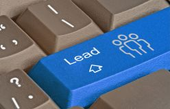 Key for lead generation. Keyboard with key for lead generation stock photography