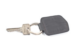 Key with leather tag Royalty Free Stock Photography